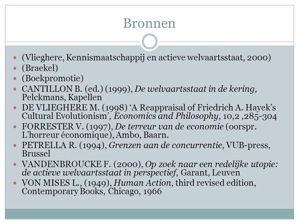 Bronnen (Vlieghere, Kennismaatschappij en actieve welvaartsstaat, 2000) (Braekel) (Boekpromotie) CANTILLON B.