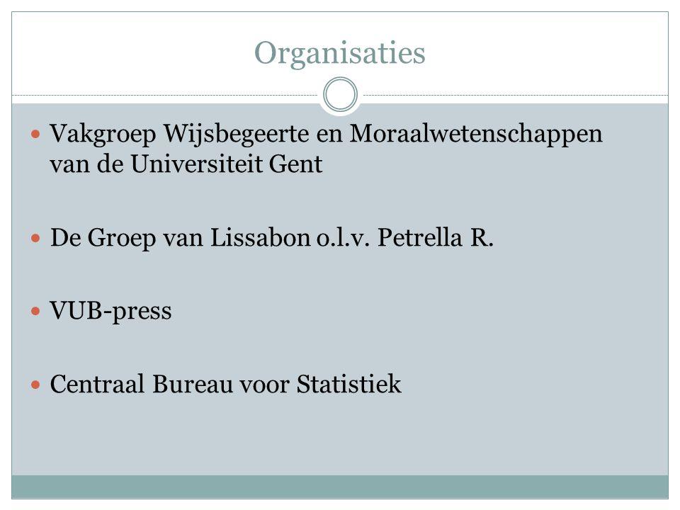 Organisaties Vakgroep Wijsbegeerte en Moraalwetenschappen van de Universiteit Gent De Groep van Lissabon o.l.v.