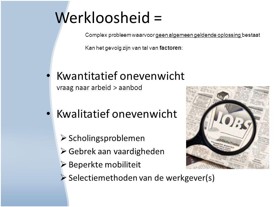 Werkloosheid = Kwantitatief onevenwicht vraag naar arbeid > aanbod Kwalitatief onevenwicht  Scholingsproblemen  Gebrek aan vaardigheden  Beperkte m