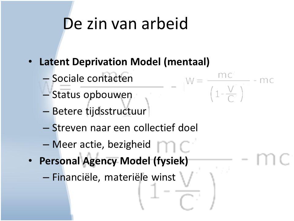 De zin van arbeid Latent Deprivation Model (mentaal) – Sociale contacten – Status opbouwen – Betere tijdsstructuur – Streven naar een collectief doel