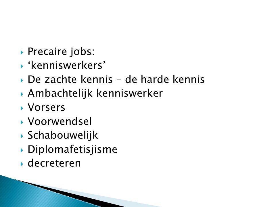  Precaire jobs:  'kenniswerkers'  De zachte kennis – de harde kennis  Ambachtelijk kenniswerker  Vorsers  Voorwendsel  Schabouwelijk  Diplomafetisjisme  decreteren