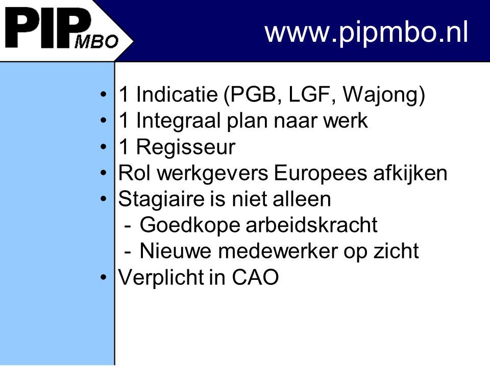 1 Indicatie (PGB, LGF, Wajong) 1 Integraal plan naar werk 1 Regisseur Rol werkgevers Europees afkijken Stagiaire is niet alleen -Goedkope arbeidskracht -Nieuwe medewerker op zicht Verplicht in CAO www.pipmbo.nl
