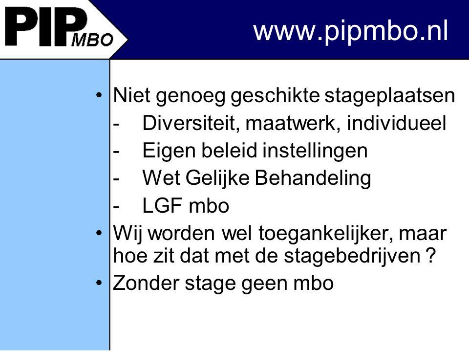 www.pipmbo.nl Niet genoeg geschikte stageplaatsen - Diversiteit, maatwerk, individueel - Eigen beleid instellingen - Wet Gelijke Behandeling - LGF mbo Wij worden wel toegankelijker, maar hoe zit dat met de stagebedrijven .