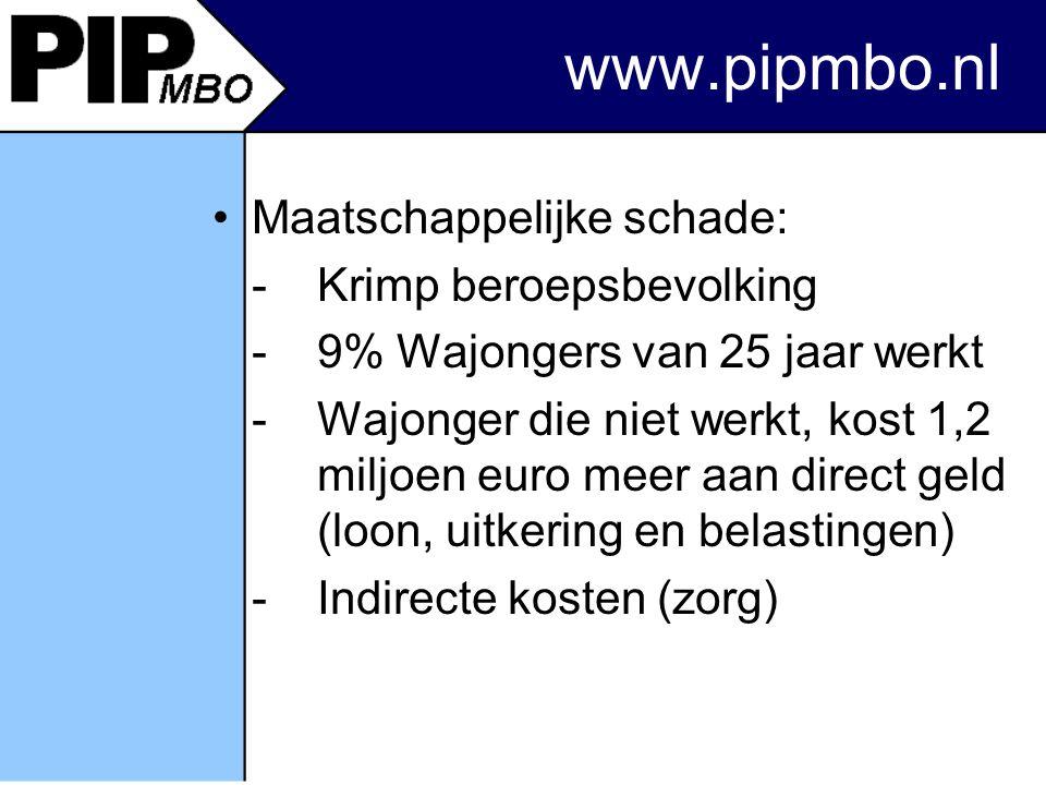 www.pipmbo.nl Maatschappelijke schade: -Krimp beroepsbevolking -9% Wajongers van 25 jaar werkt -Wajonger die niet werkt, kost 1,2 miljoen euro meer aan direct geld (loon, uitkering en belastingen) -Indirecte kosten (zorg)