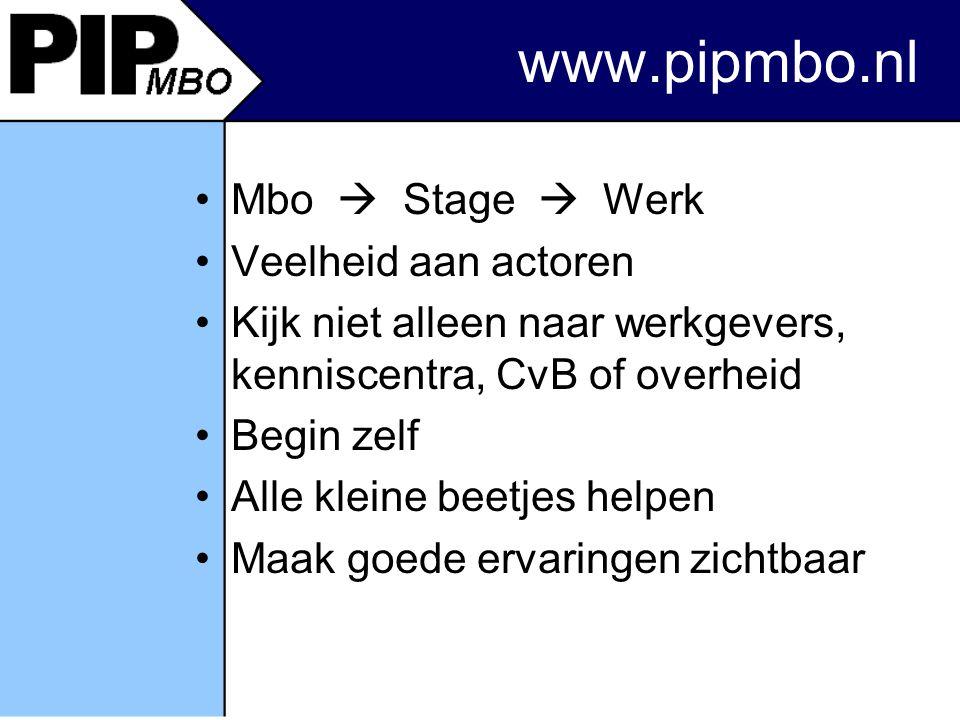 www.pipmbo.nl Mbo  Stage  Werk Veelheid aan actoren Kijk niet alleen naar werkgevers, kenniscentra, CvB of overheid Begin zelf Alle kleine beetjes helpen Maak goede ervaringen zichtbaar
