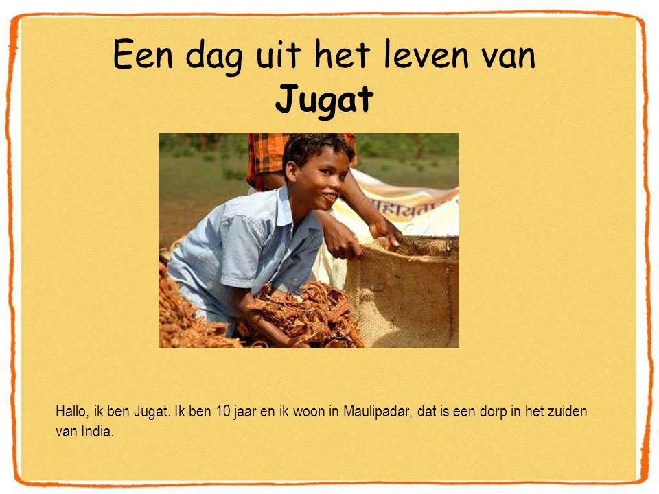 Een dag uit het leven van Jugat Hallo, ik ben Jugat. Ik ben 10 jaar en ik woon in Maulipadar, dat is een dorp in het zuiden van India.