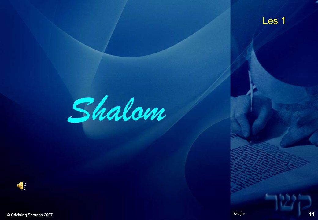 Les 1 © Stichting Shoresh 2007 Shalom Kesjer 11