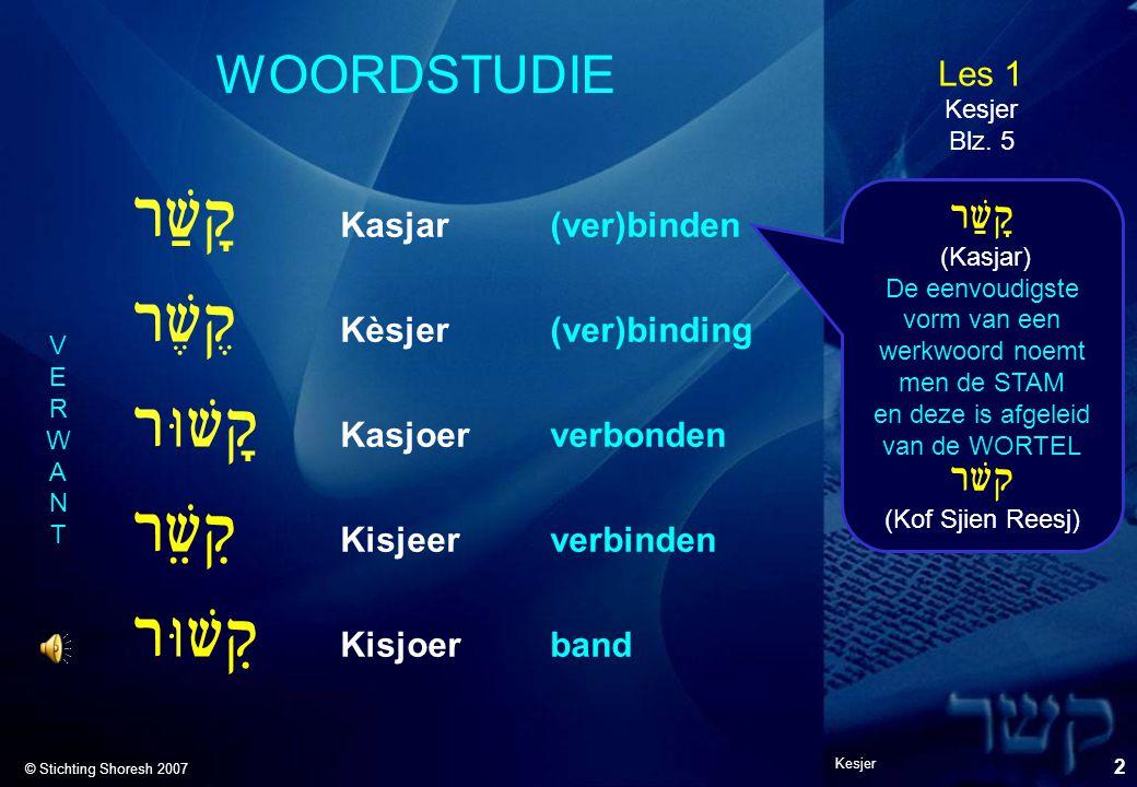 Les 1 © Stichting Shoresh 2007 Kesjer 2 WOORDSTUDIE Rwaq! Kasjar(ver)binden Rw,q@ Kèsjer(ver)binding RUwq! Kasjoerverbonden Rweq9 Kisjeerverbinden RUw