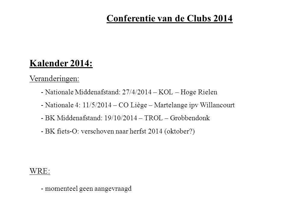 Kalender 2014: Veranderingen: - Nationale Middenafstand: 27/4/2014 – KOL – Hoge Rielen - Nationale 4: 11/5/2014 – CO Liège – Martelange ipv Willancourt - BK Middenafstand: 19/10/2014 – TROL – Grobbendonk - BK fiets-O: verschoven naar herfst 2014 (oktober?) WRE: - momenteel geen aangevraagd Conferentie van de Clubs 2014