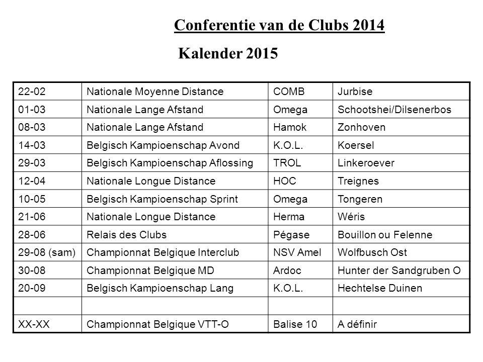 Kalender 2015 en volgende: Kandidaturen voor de 3 daagse van België Reeds goedgekeurd: 2015:C.O.Liège1 – 3 mai (Sud de la Province de Luxembourg) 2016:ASUB14 – 16 mai (Pentecôte) région Neufchateau Voorstel ter goedkeuring: 2017:VVO3 – 5 juni (Pinksteren), kaarten nog niet gedefinieerd Selectieweekends nationale ploegen: 2014:15 en 16 maart 2014 2015:14 en 15 maart 2015 of 21 en 22 maart 2015 2016: Aanvraag beschermde wedstrijd: Hamok wil op 31 mei 2015 een internationale stadsoriëntatie organiseren in Brugge en vraagt om deze wedstrijd op te nemen als beschermde wedstrijd.