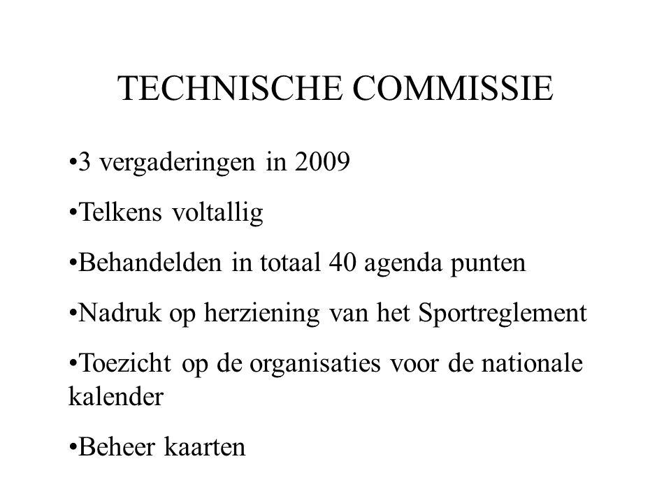 TECHNISCHE COMMISSIE 3 vergaderingen in 2009 Telkens voltallig Behandelden in totaal 40 agenda punten Nadruk op herziening van het Sportreglement Toezicht op de organisaties voor de nationale kalender Beheer kaarten