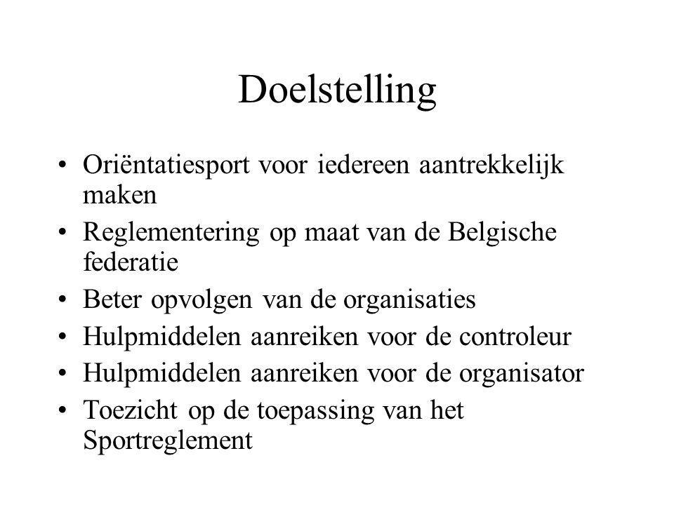 Doelstelling Oriëntatiesport voor iedereen aantrekkelijk maken Reglementering op maat van de Belgische federatie Beter opvolgen van de organisaties Hulpmiddelen aanreiken voor de controleur Hulpmiddelen aanreiken voor de organisator Toezicht op de toepassing van het Sportreglement