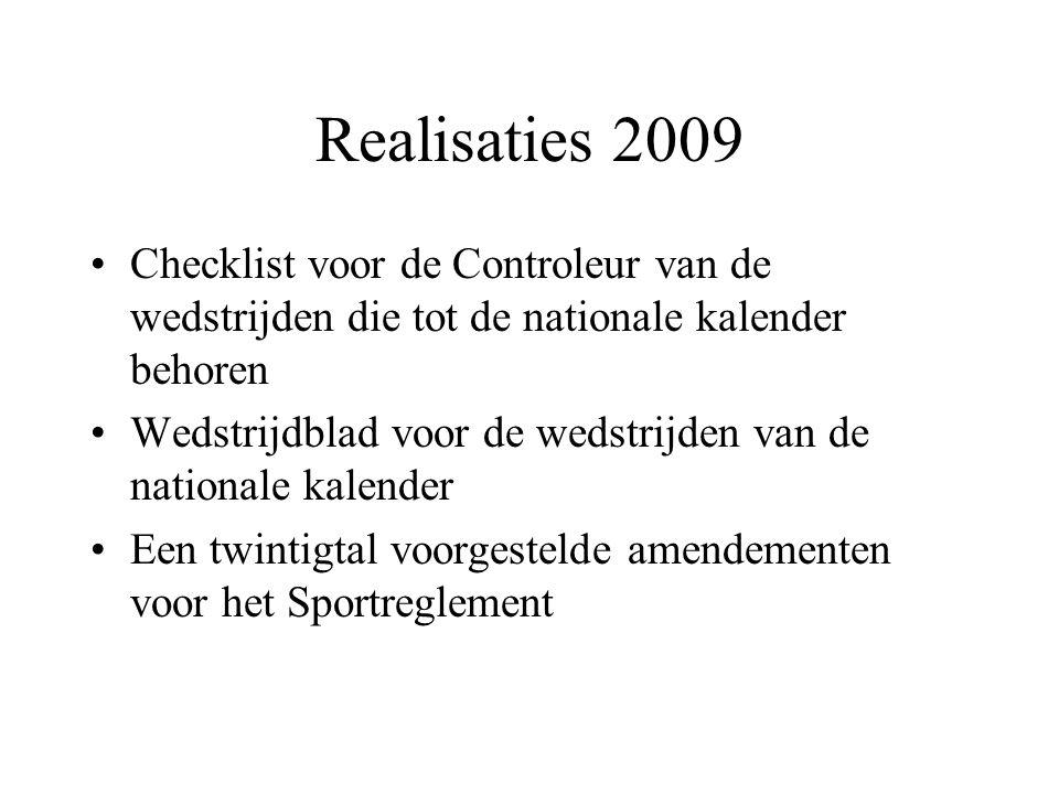 Realisaties 2009 Checklist voor de Controleur van de wedstrijden die tot de nationale kalender behoren Wedstrijdblad voor de wedstrijden van de nationale kalender Een twintigtal voorgestelde amendementen voor het Sportreglement