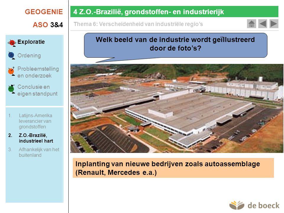 GEOGENIE ASO 3&4 Thema 6: Verscheidenheid van industriële regio's Welk beeld van de industrie wordt geïllustreerd door de foto's.