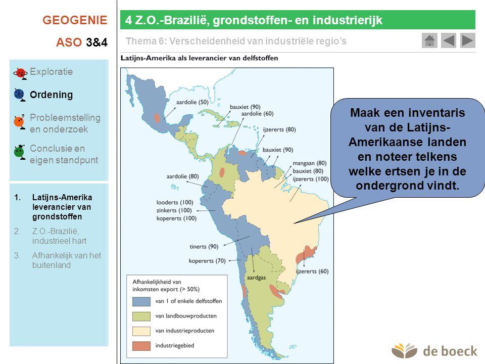 GEOGENIE ASO 3&4 Thema 6: Verscheidenheid van industriële regio's Maak een inventaris van de Latijns- Amerikaanse landen en noteer telkens welke ertsen je in de ondergrond vindt.