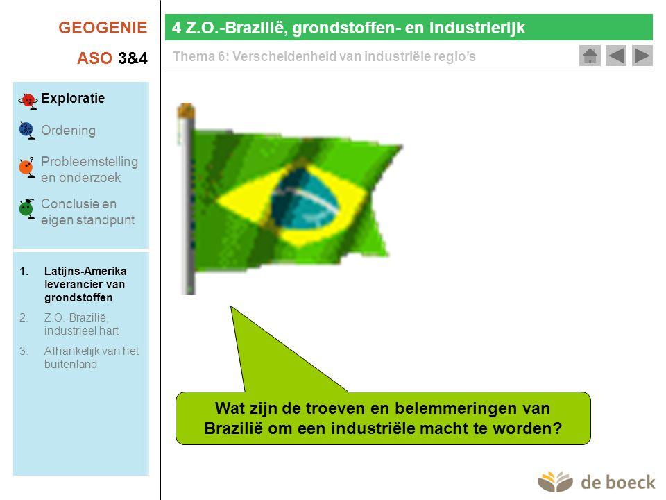 GEOGENIE ASO 3&4 Thema 6: Verscheidenheid van industriële regio's Wat zijn de troeven en belemmeringen van Brazilië om een industriële macht te worden.