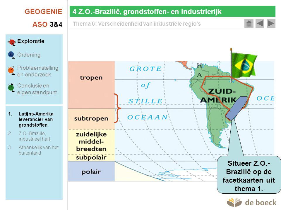 GEOGENIE ASO 3&4 Thema 6: Verscheidenheid van industriële regio's Economie van Brazilië Munteenheid 1 real (R$) = 100 centavos InflatieMinder dan 10 % per jaar Nationaal product € 1100 miljard (euro) Economische groei 4,3 % (2000), 1,3 %(2001), 1,9 % (2002), -0,2 (2003), 3,5 à 4 % (2004) Inflatie (IPCA- index) 12,5 % (2002), 9,3 % (2003), 6,5 % (2004) Werkloosheid12,2 % (2003) UitvoerVS$ 55,1 miljard (2000); 58,2 (2001); 60,4 (2002); 73,1 (2003) Invoer VS$ 55,8 miljard (2000), 55,6 miljard (2001); 47,4 miljard (2002); 48,3 miljard (2003) Buitenlandse schuld VS$ 214,9 miljard (2003) Actualisering 4 Z.O.-Brazilië, grondstoffen- en industrierijk Exploratie Ordening Probleemstelling en onderzoek Conclusie en eigen standpunt 1.Latijns-Amerika leverancier van grondstoffen 2.Z.O.-Brazilië, industrieel hart 3.Afhankelijk van het buitenland