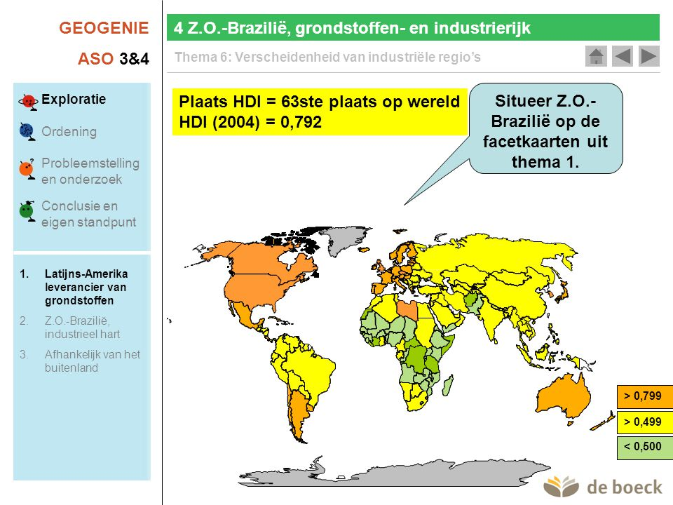 GEOGENIE ASO 3&4 Thema 6: Verscheidenheid van industriële regio's Actualisering 4 Z.O.-Brazilië, grondstoffen- en industrierijk Exploratie Ordening Probleemstelling en onderzoek Conclusie en eigen standpunt 1.Latijns-Amerika leverancier van grondstoffen 2.Z.O.-Brazilië, industrieel hart 3.Afhankelijk van het buitenland