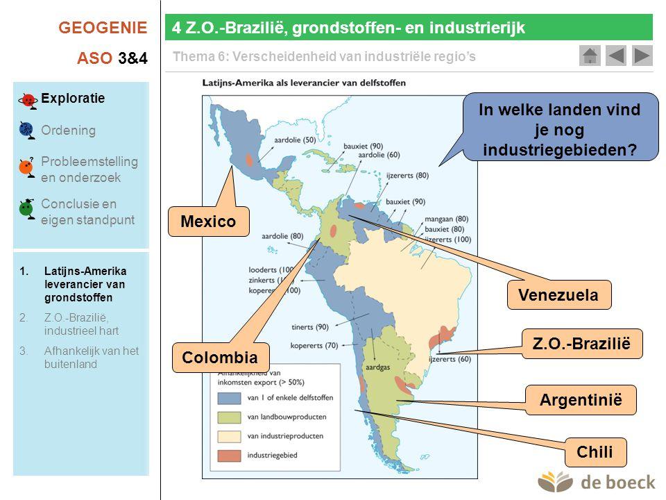 GEOGENIE ASO 3&4 Thema 6: Verscheidenheid van industriële regio's Verklaar de lokalisatie van de autonijverheid in Z.O.- Brazilië.
