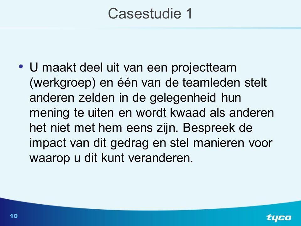 10 Casestudie 1 U maakt deel uit van een projectteam (werkgroep) en één van de teamleden stelt anderen zelden in de gelegenheid hun mening te uiten en wordt kwaad als anderen het niet met hem eens zijn.