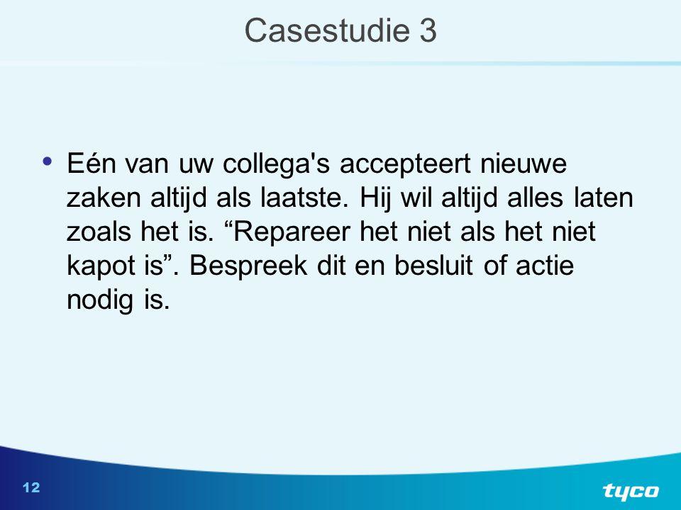 12 Casestudie 3 Eén van uw collega s accepteert nieuwe zaken altijd als laatste.
