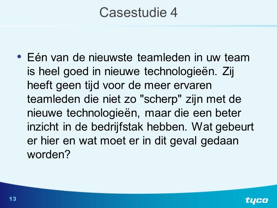 13 Casestudie 4 Eén van de nieuwste teamleden in uw team is heel goed in nieuwe technologieën.