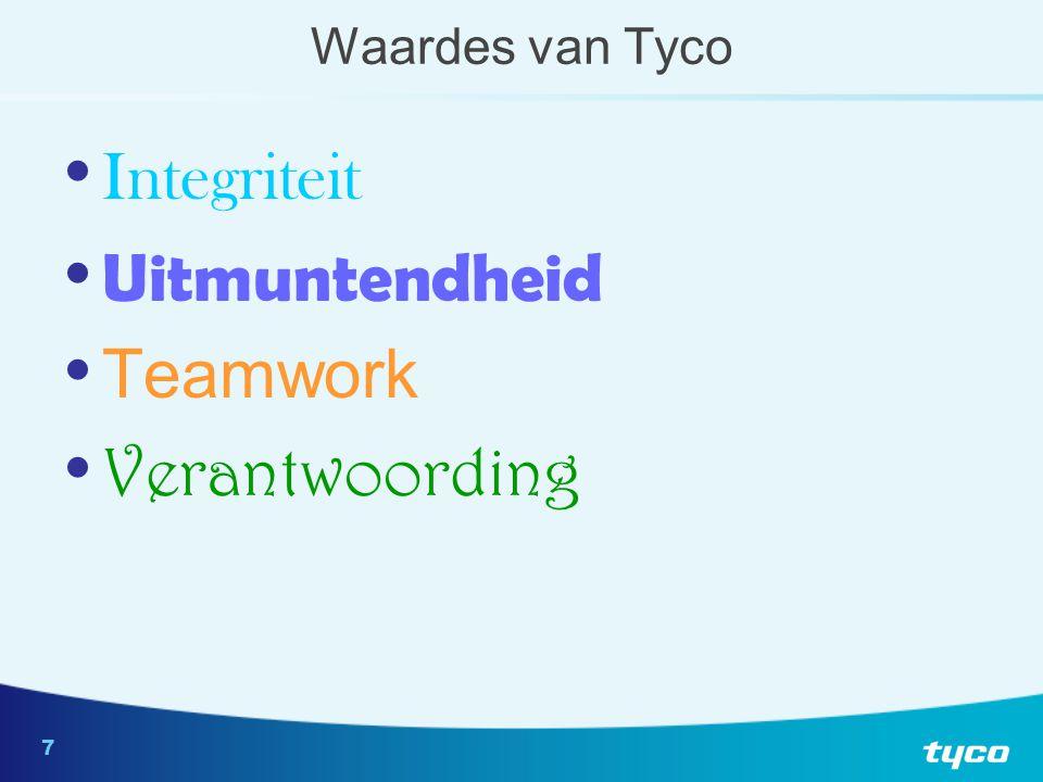 7 Waardes van Tyco Integriteit Uitmuntendheid Teamwork Verantwoording