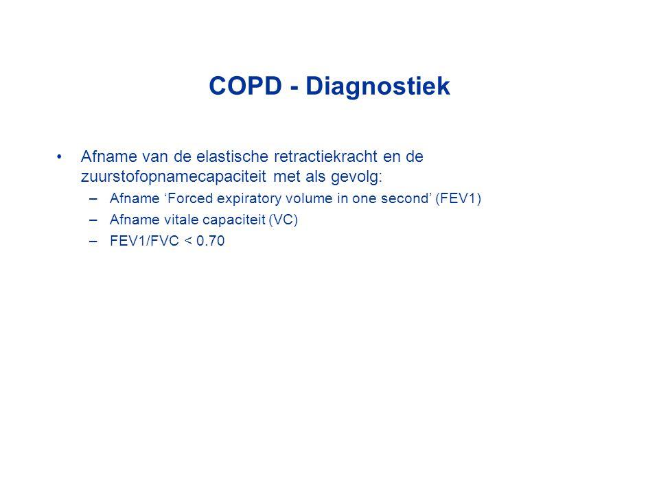 COPD - Diagnostiek Afname van de elastische retractiekracht en de zuurstofopnamecapaciteit met als gevolg: –Afname 'Forced expiratory volume in one se