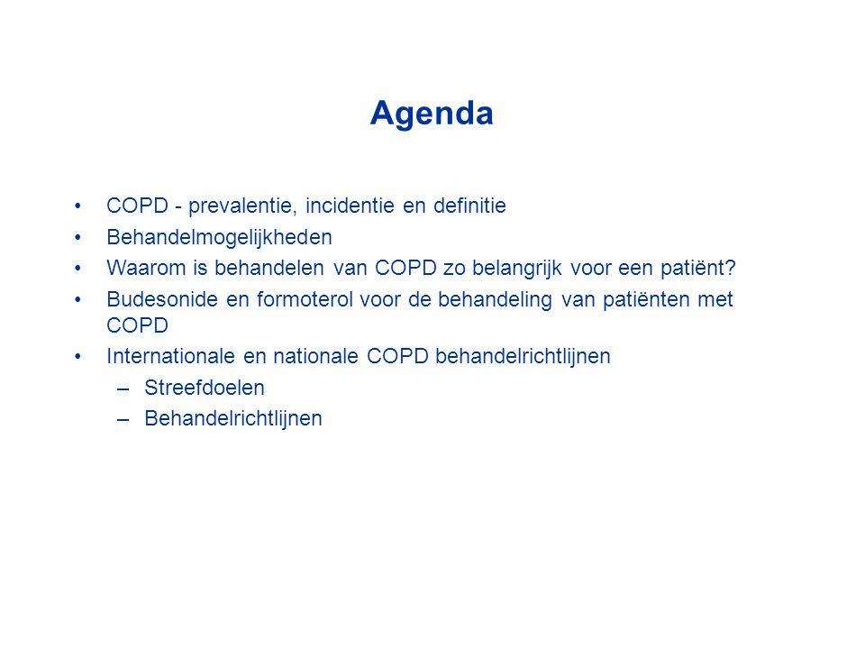 Agenda COPD - prevalentie, incidentie en definitie Behandelmogelijkheden Waarom is behandelen van COPD zo belangrijk voor een patiënt? Budesonide en f