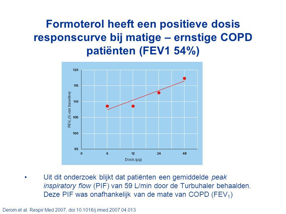 Formoterol heeft een positieve dosis responscurve bij matige – ernstige COPD patiënten (FEV1 54%) Uit dit onderzoek blijkt dat patiënten een gemiddeld