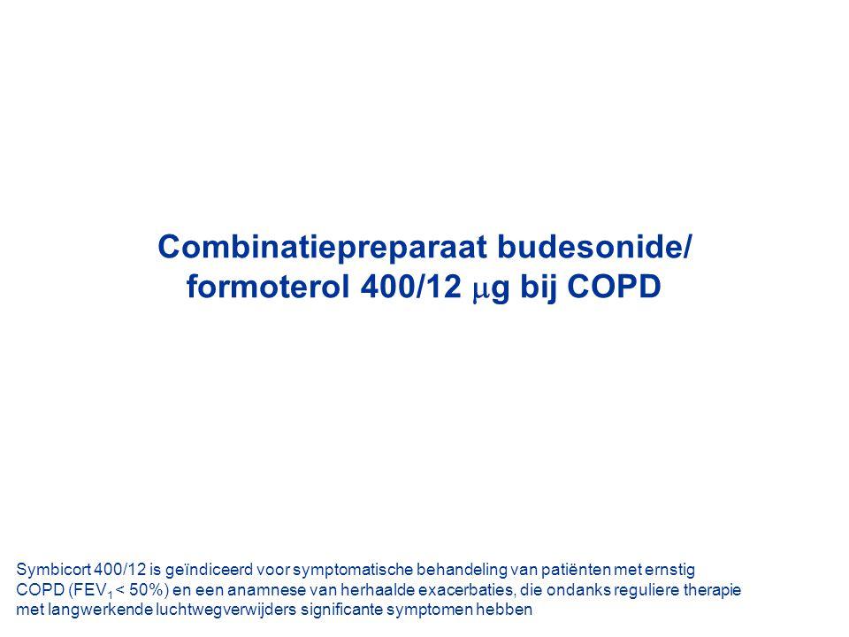 Combinatiepreparaat budesonide/ formoterol 400/12  g bij COPD Symbicort 400/12 is geïndiceerd voor symptomatische behandeling van patiënten met ernst