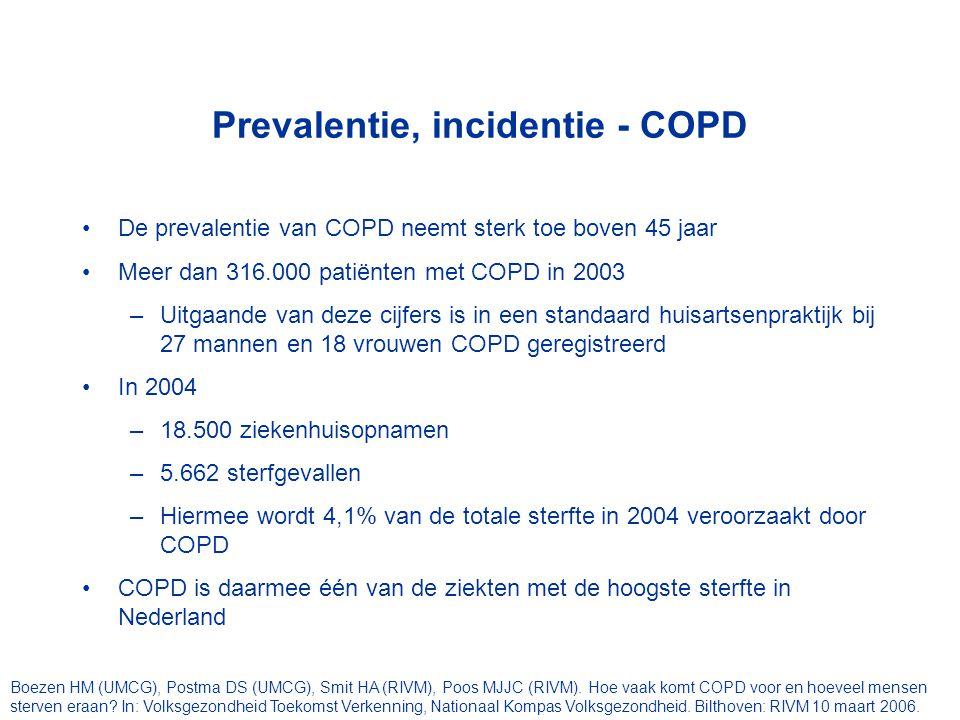 Prevalentie, incidentie - COPD De prevalentie van COPD neemt sterk toe boven 45 jaar Meer dan 316.000 patiënten met COPD in 2003 –Uitgaande van deze c