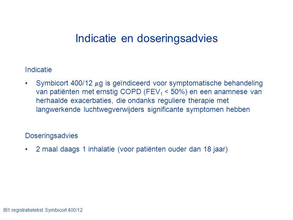 Indicatie en doseringsadvies Indicatie Symbicort 400/12  g is geïndiceerd voor symptomatische behandeling van patiënten met ernstig COPD (FEV 1 < 50%