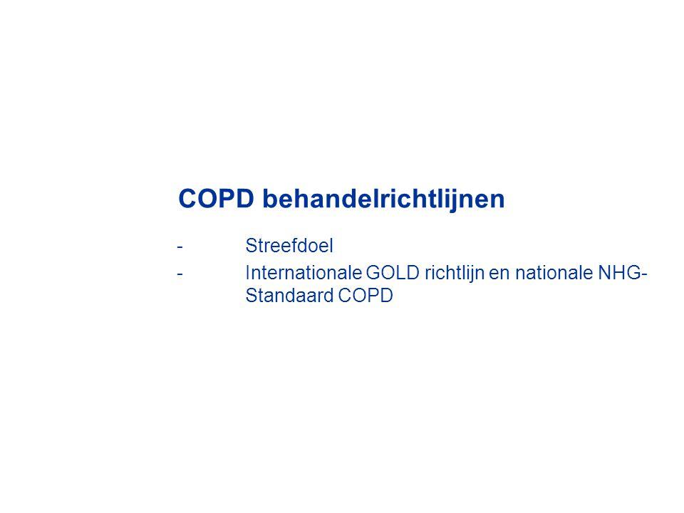 COPD behandelrichtlijnen -Streefdoel -Internationale GOLD richtlijn en nationale NHG- Standaard COPD