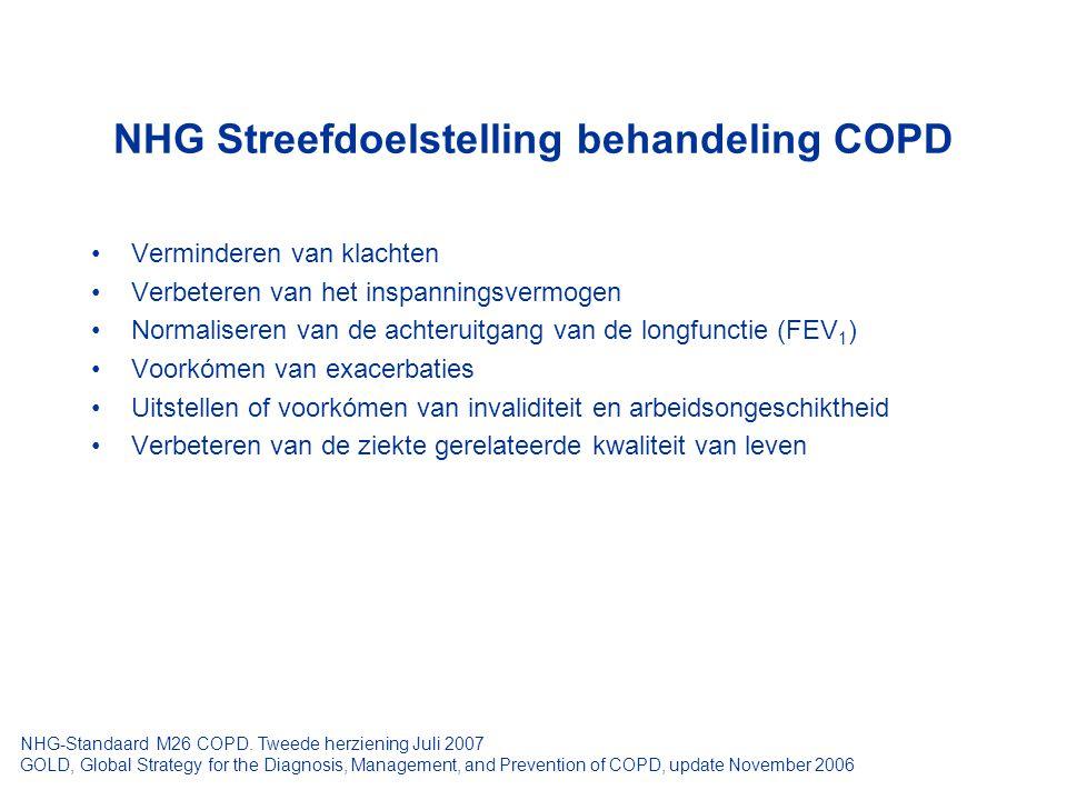 NHG Streefdoelstelling behandeling COPD Verminderen van klachten Verbeteren van het inspanningsvermogen Normaliseren van de achteruitgang van de longf