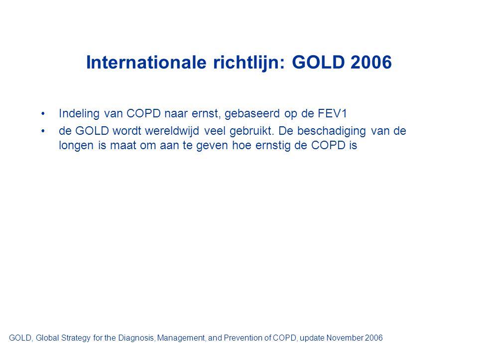 Internationale richtlijn: GOLD 2006 Indeling van COPD naar ernst, gebaseerd op de FEV1 de GOLD wordt wereldwijd veel gebruikt. De beschadiging van de