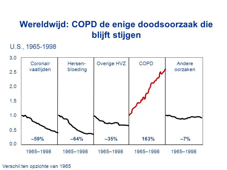 0.0 0.5 1.0 1.5 2.0 2.5 3.0 Coronair vaatlijden Hersen- bloeding Overige HVZAndere oorzaken COPD –59%–35%–64%163%–7% 1965–1998 Verschil ten opzichte v