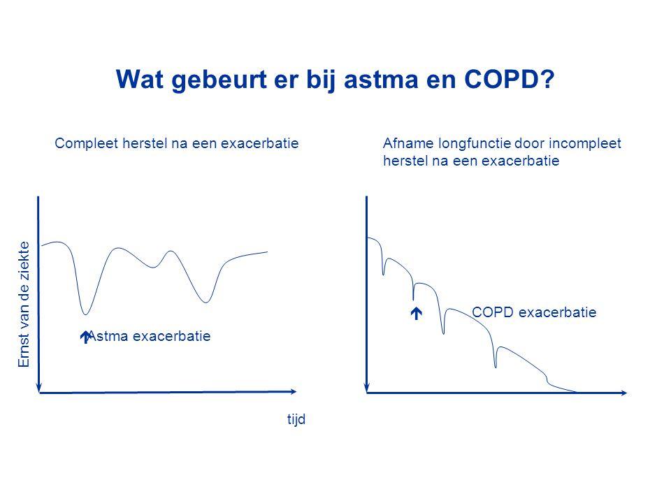 Ernst van de ziekte tijd Wat gebeurt er bij astma en COPD?  COPD exacerbatie Afname longfunctie door incompleet herstel na een exacerbatie Compleet h