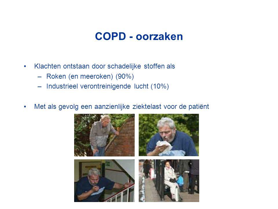 COPD - oorzaken Klachten ontstaan door schadelijke stoffen als –Roken (en meeroken) (90%) –Industrieel verontreinigende lucht (10%) Met als gevolg een