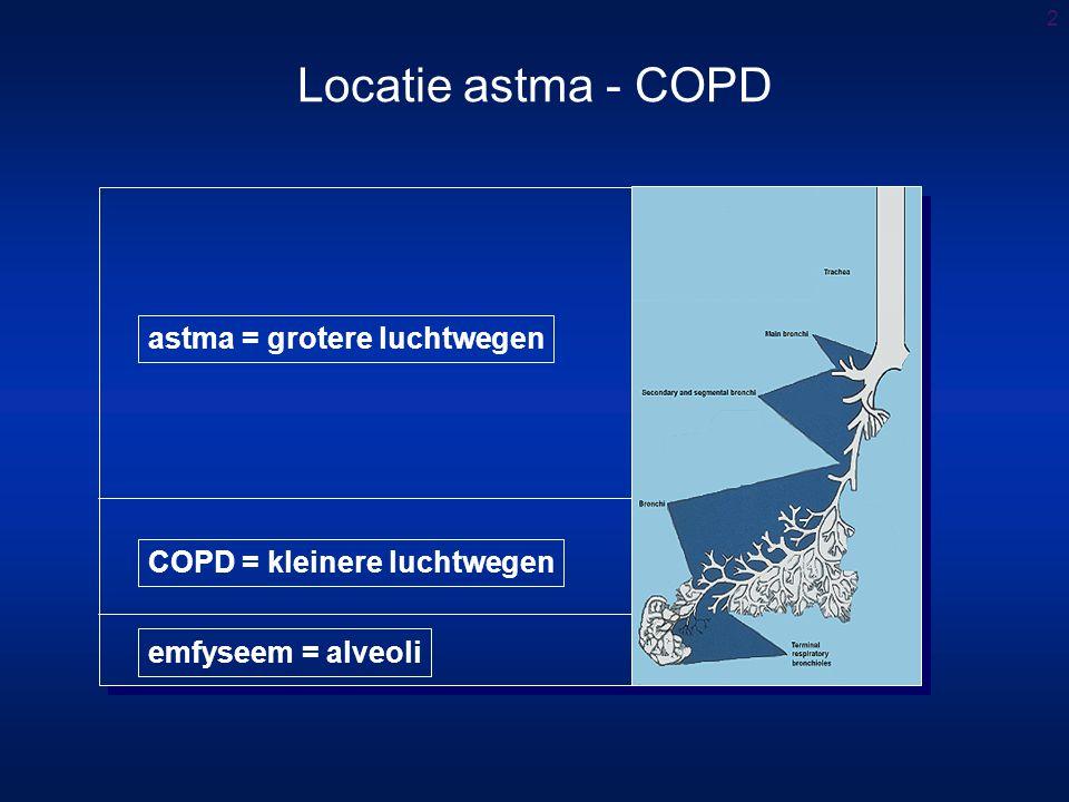 2 astma = grotere luchtwegen COPD = kleinere luchtwegen emfyseem = alveoli Locatie astma - COPD