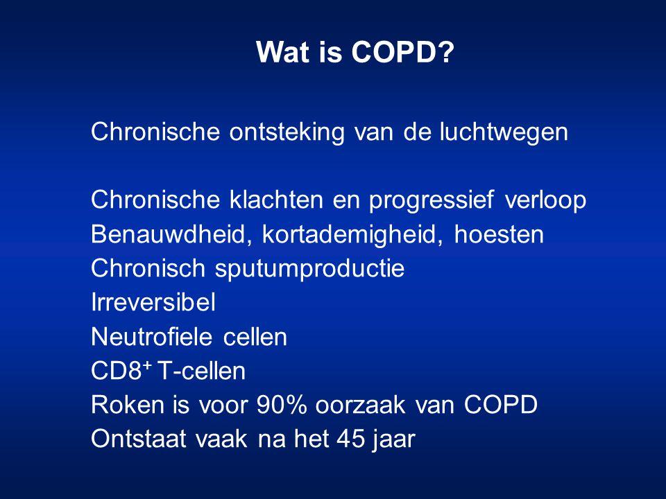 14 Combinatie-preparaten voor COPD Symbicort ®  2 -agonist: formoterol Inhalatie- corticosteroïd: budesonide Dosering: –400/12 500/50 Seretide ®  2 -agonist: salmeterol Inhalatie- corticosteroïd: fluticason Dosering: 500/50