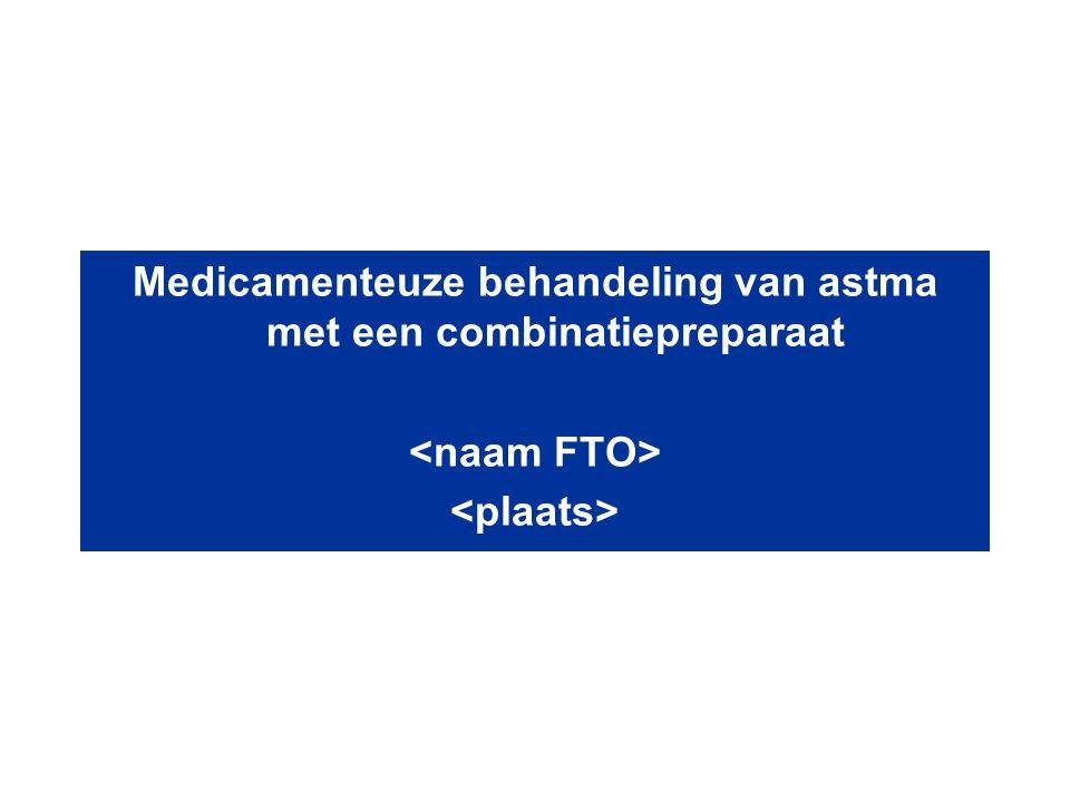 Partridge et al BMC Pulmonary Medicine 2006; 6:13 INSPIRE - astmabelevingsonderzoek: Slechts 28% van de patiënten, op ICS of ICS/LWb2, heeft een goede astmacontrole N=3.415 onderhoudsbehandeling ICS of ICS/LABA
