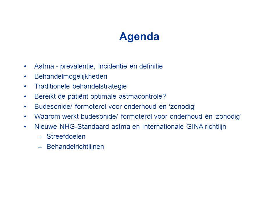Agenda Astma - prevalentie, incidentie en definitie Behandelmogelijkheden Traditionele behandelstrategie Bereikt de patiënt optimale astmacontrole.