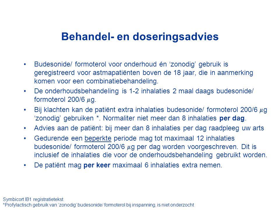 Budesonide/ formoterol voor onderhoud én 'zonodig' gebruik is geregistreerd voor astmapatiënten boven de 18 jaar, die in aanmerking komen voor een combinatiebehandeling.