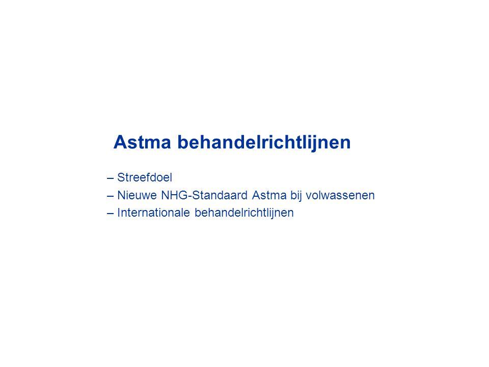 Astma behandelrichtlijnen – Streefdoel – Nieuwe NHG-Standaard Astma bij volwassenen – Internationale behandelrichtlijnen