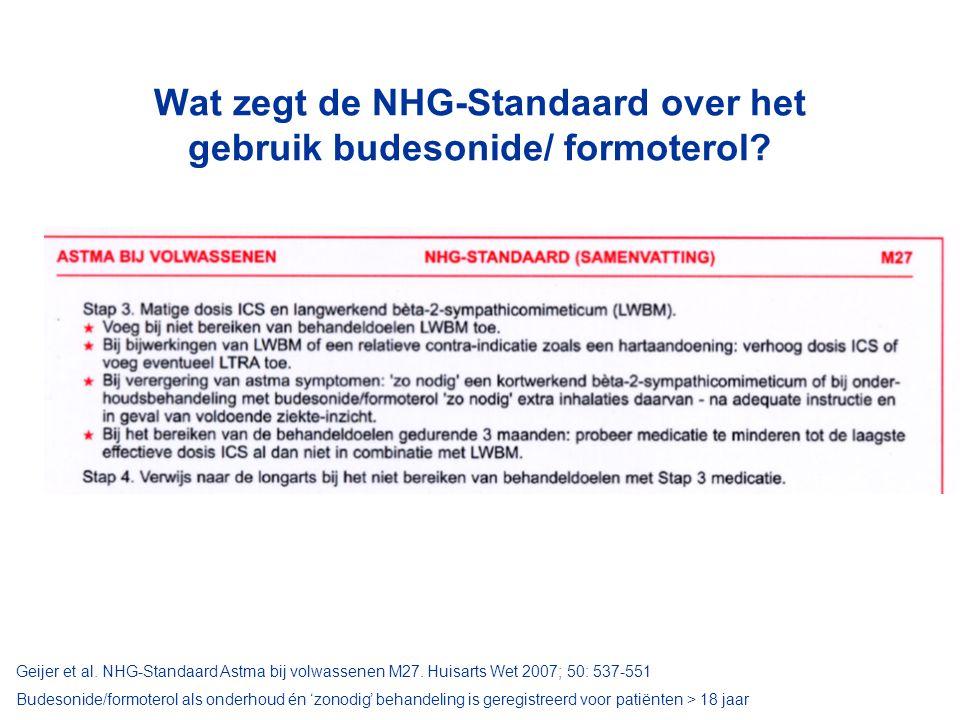 Wat zegt de NHG-Standaard over het gebruik budesonide/ formoterol.