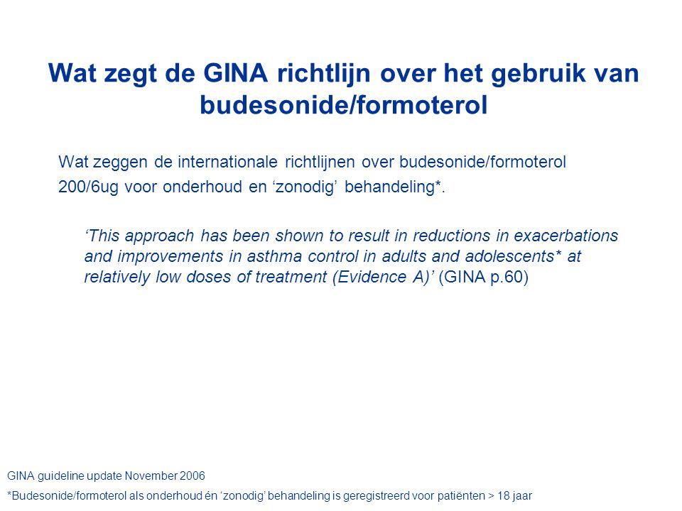 Wat zegt de GINA richtlijn over het gebruik van budesonide/formoterol Wat zeggen de internationale richtlijnen over budesonide/formoterol 200/6ug voor onderhoud en 'zonodig' behandeling*.
