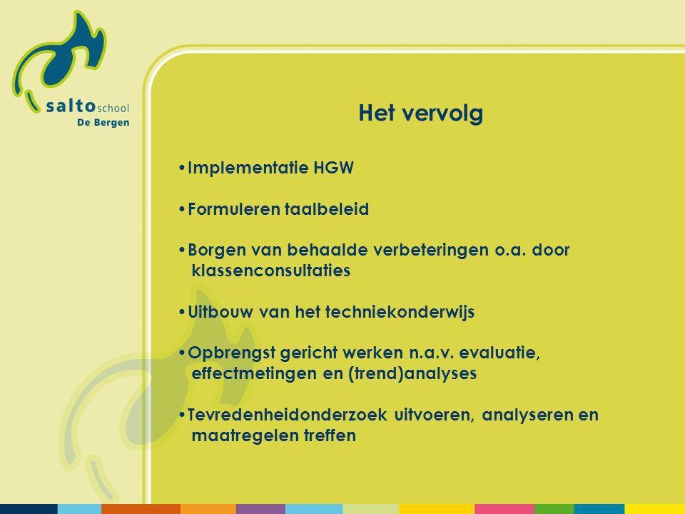 Het vervolg Implementatie HGW Formuleren taalbeleid Borgen van behaalde verbeteringen o.a.