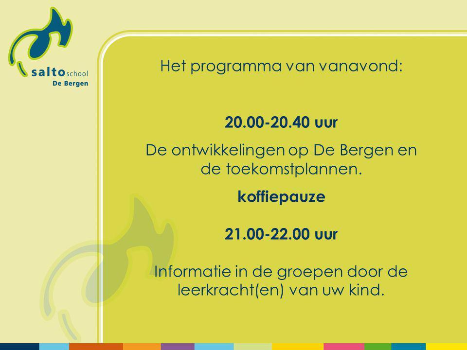 Het programma van vanavond: 20.00-20.40 uur De ontwikkelingen op De Bergen en de toekomstplannen.