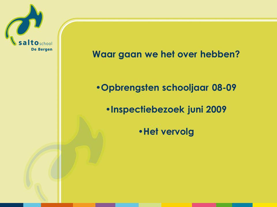 Waar gaan we het over hebben Opbrengsten schooljaar 08-09 Inspectiebezoek juni 2009 Het vervolg